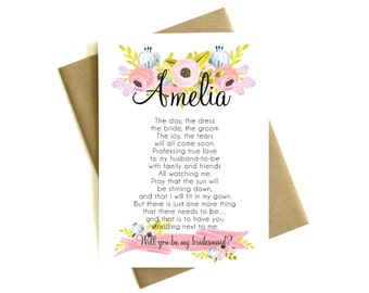 Personalized Will You Be My Bridesmaid Poem - Custom Poem, Bridesmaid Card, Bridesmaid Gift, Bridesmaid Proposal, Be My Bridesmaid Card