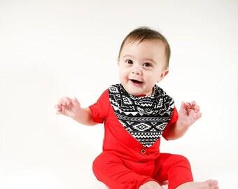 Baby Bibdana - Monochrome Baby Bib - Baby Bandana Bib Boy - Drool Bandana - Baby Boy Bibs - Toddler Bib - Dribble Bib - Baby Scarf Bib