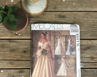 Wedding Dress Pattern, McCalls 6951, formal dress, gala, prom, sewing, crafting,  UNCUT pattern, women, ladies, girls