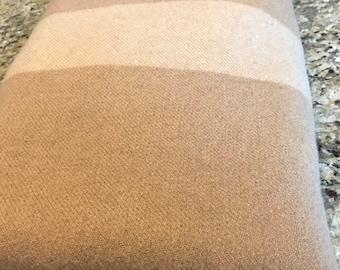 Vintage Queen / Full Size Wool Camp Blanket Beige Tan Neutral Khaki STRIPE Light Weight Points Blanket 100% Wool Year Round All Seasons