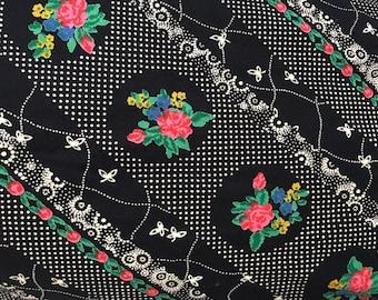 Reserved don't buy Vintage cotton long skirt flower  shabby chic hippy Medium