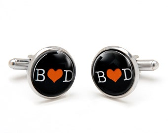 Wedding Cufflinks with Initials of Bride and Groom - Valentine Heart Cufflinks - Monogrammed Cufflinks - Gift for Groom Boyfriend Husband