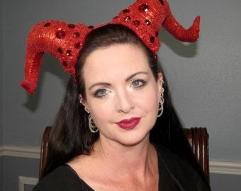 RED RIOT HORNS Red Glittered Demon Devil Horns Headdress Hair Adornment ooak