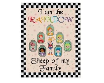 Rainbow Brite Cross Stitch - 80s Cartoon Characters - Pixel People Cross Stitch Pattern - Modern Cross Stitch Pdf