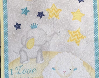 Baby Quilt Blanket, Unisex, Gender neutral, Yellow, Blue, White, Owl, Sheep, Moon, Minky, Quiltsy Handmade