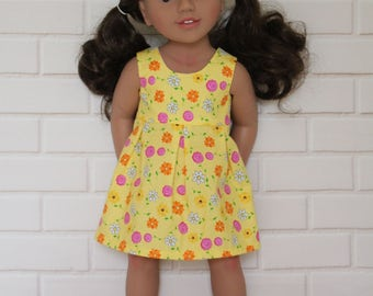 Yellow Floral Sleeveless Summer Dress Doll Clothes to fit 18 inch dolls to 20 inch dolls such as American Girl & Australian Girl dolls