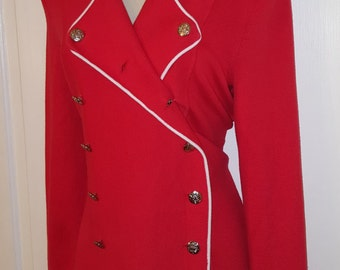 BLOOMINGDALE'S CARDIGAN SWEATER // Red Double Breasted Button Down Sweater Silver Crest White Holiday Preppy Size S