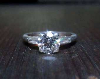 Vintage Engagement Ring, Late Art Deco Round Brilliant .80ct GHVS2 and Baguette Diamond Ring Platinum c. 1940, Antique Diamond