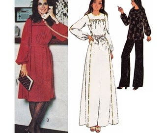 """1977 Marlo's Corner Peasant Style Square Armhole Yoked Dress, Maxi, Tunic & Stretch Knit Pants, Pounds Thinner McCall's 5799, Bust 34"""" Uncut"""