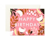 Forest Wildflowers Birthday Card - Fuscia -