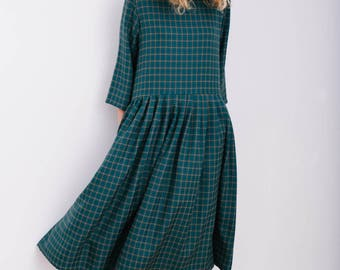 Checkered Oversized Dress - Oversize Dress - Loose Fit Dress - Handmade by OFFON