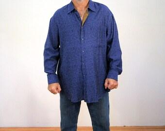 90s Jhane Barnes Shirt, Blue Silk Cotton Blend Button Down Shirt, Designer Shirt, Silk Blend Shirt, Men's Blue Shirt XXL 2XL
