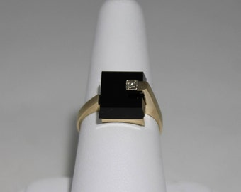 10K Frosted Yellow Gold Square Onyx and Diamond Ring