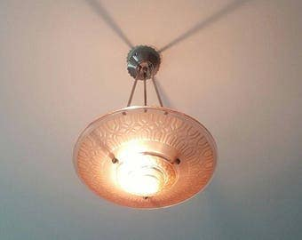 "Pink Art Deco Light Fixture - ""H. Petitot"" 1930s Unsigned  - French Acid Etched Hanging Lamp - Nickel Hanging Mechanism - Art Deco Jewel"