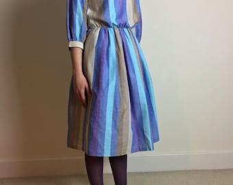 striped cotton dress | elastic waist dress | striped beach hut dress