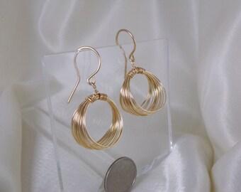 Gold filled Wire hoop earrings medium gemstone handmade  item 927