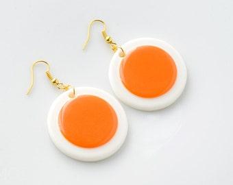 Mod earrings, 60s mod hoop earrings, Mod orange earrings, Mod Green Earrings, Orange earrings, dangle earrings, Mad Men earrings