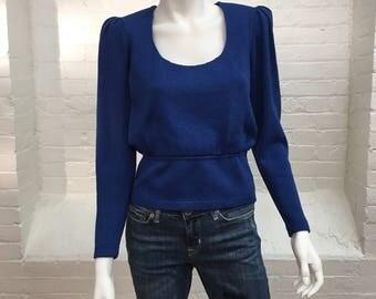 vintage St. John knit sweater top // cobalt blue top // small