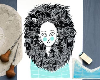 Linocut print: Lioness
