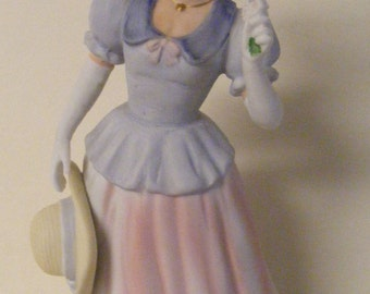 Gorgeous Vintage SOUTHERN BELLE FIGURINE Hand Painted Porcelain Woman Lady china great dress w petticoats wide brimmed straw hat pink blue