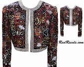 Scala Collection Bolero Evening Jacket with Beading, Sequins, and Faux Pearls on Brown Silk Fabric - Fits Size Small to Medium