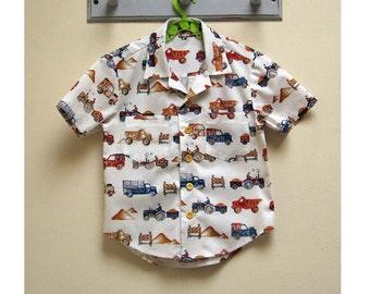 Boy's Hawaiian shirt sewing pattern for kids 2-14 years. THOMAS SHIRT pdf sewing pattern for childrens casual shirt.
