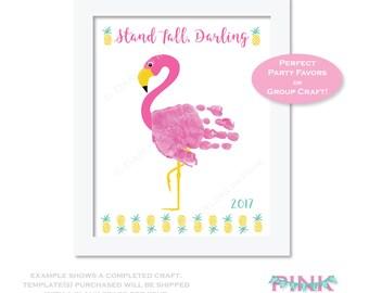 Flamingo Party Favor - Kids Birthdays - Girls Luau Game Activity - Handprint Art - Hand print - Pink Summer Pool Party Craft - Kids DIY Art