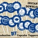 Graduation cupcake topper in blue and white printable template DIY