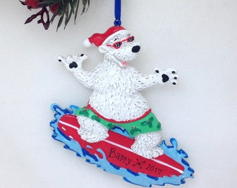 Polar Bear Surfing - Personalized Christmas Ornament - Surfing Ornament -  Vacation Ornament - Sports Ornament