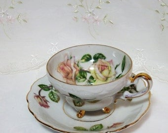 1950s Vintage 3 Footed Tea Cup and Saucer // Pink Rose Pattern // Accented with Gold //Ucago Japan