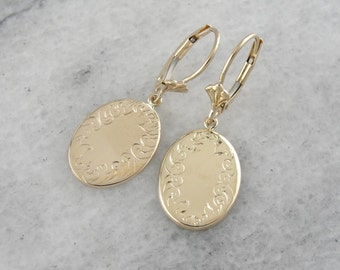 Yellow Gold Drop Earrings with Simple, Engraved Border HCKW9D-N