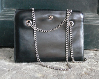 1960s Vintage leather black bag