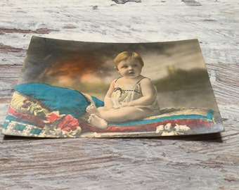 French Vintage Postcard . Picture Postcard of a Baby . Vintage Child Postcard . Baby Postcard . Vintage French Postcard .