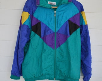 Vintage Geometric Blue and Turquoise Windbreaker