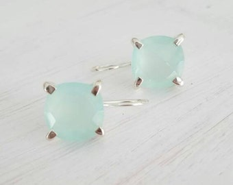 Minimal Colorful Sterling Silver 925 Square Faceted Sea Green Cushion Cut Chalcedony Gemstone Solitaire Large Dangle Drop Earrings
