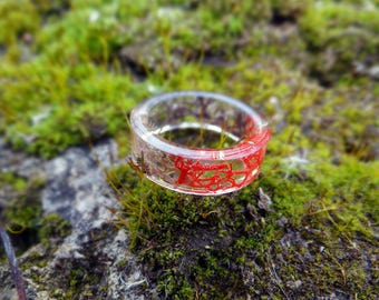 Real moss mens ring for him anniversary gifts for mens gift for couple engagement ring red grey black lichen couple ring set resin band ring