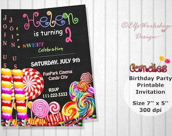 The Candy Invitation, Lollipops Birthday Party Invitation, The Candies Birthday. Printable Invitation, Spring Birthday, Lollipops Sweets