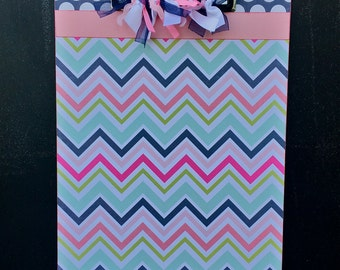 Blue and Pink Chevron Clipboard