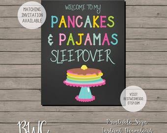 Welcome Pancakes and Pajamas Sign, Printable Sign, Sleepover Welcome Sign, Slumber Party Sign, Welcome to my Sleepover, Instant Download