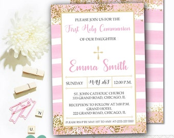 Pink Communion Invitation - Communion Invitation for Girl - Gold Communion Invitation - Watercolor Pink and Gold Communion Invite