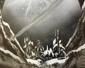 Spray Paint Art Space-scape Planet Saturn Landing Feild
