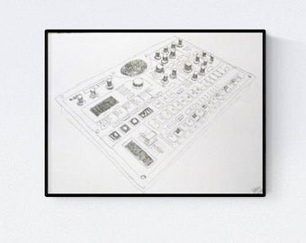 Synth fans, Korg electribe handmade illustration, perfect gift for music lovers