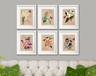 Flower Garden - 6 Print Set, Botanical Flower Artwork, Floral Art Prints, French Country Style, Cottage Chic Style Room Decor, Butterfly Art
