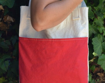 THE SADIE -- Colored Pocket Canvas Tote.