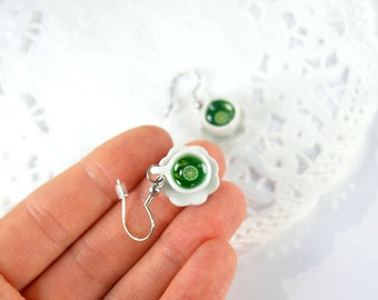 Green tea cups, miniature porcelain, jewelry, gourmet, miniature cups greedy, greedy earrings, green tea, tea
