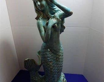Rare New Ceramic Large Mermaid Figurine Sculpture Fish Ocean Beach Home Decor Girl Lady