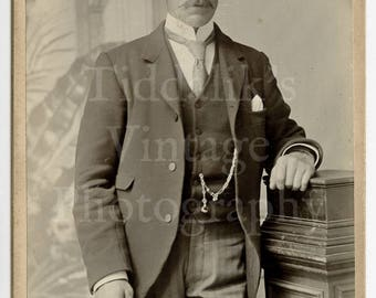 Cabinet Card Photo - Victorian Smart Suited Dapper Man, Mustache Standing Portrait - Chas Faulkner's  Finsbury Park England - Antique Photo