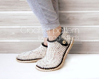Crochet pattern-slippers with rope soles,soles pattern included,all women sizes,crochet boots,loafers,women,adult,girls,cord,twine,buttons