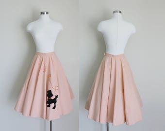 1950s Poodle Skirt | Circle Skirt | Full Skirt | Salmon Pink Skirt | Small