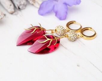 Ruby gold Swarovski leaf earrings Swarovski ruby crystal jewellery 24k gold plated Swarovski earrings Leaf jewellery Large evening earring